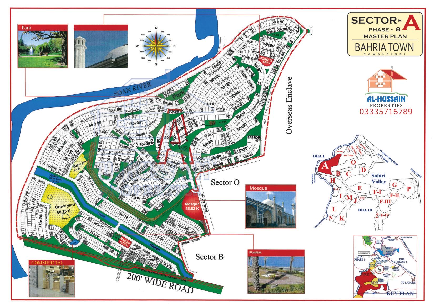 Sector A Phase 8 Master Plan Bahria Town Rawalpindi Islamabad